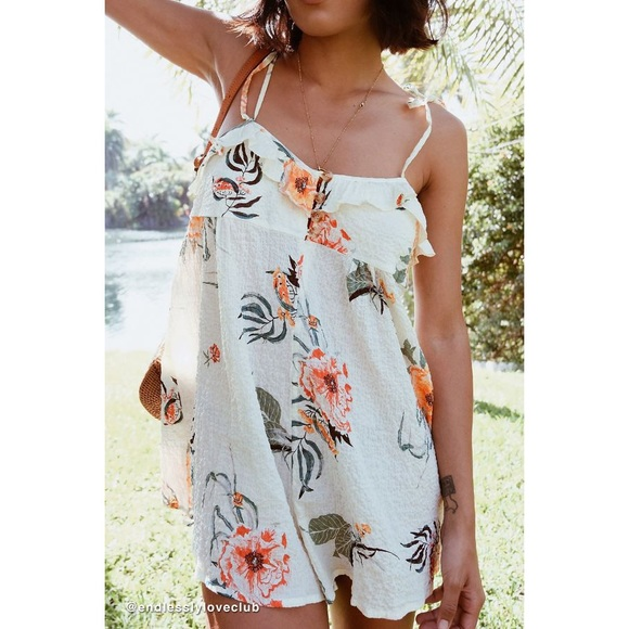 Urban Outfitters Pants - NWT UO Ruffle Floral Babydoll Romper